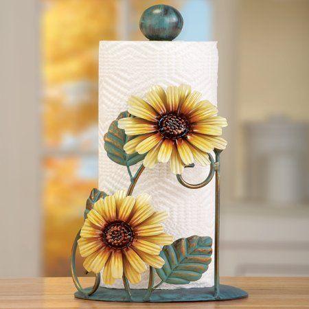 Collections Etc Metal Sunflower Paper Towel Holder Yellow Walmart Com In 2020 Sunflower Kitchen Sunflower Home Decor Sunflower Kitchen Decor