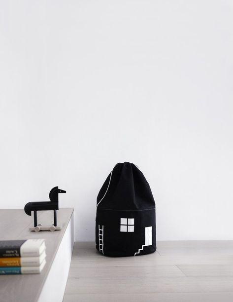 Big House Storage Bag Black Bag Storage Playroom Design Playroom
