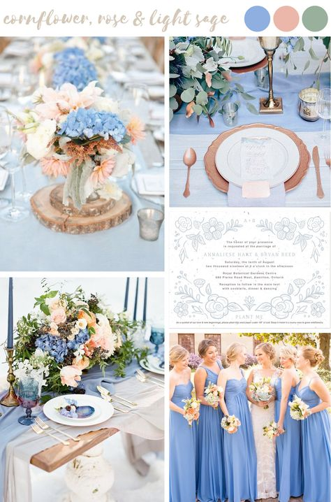 Find wedding color inspiration like this soft and dreamy cornflower, rose and light sage palette for stylish and trendy summer weddings. wedding bridesmaids 5 Stylish Summer Wedding Palettes Paired With Seed Paper Wedding Invitations