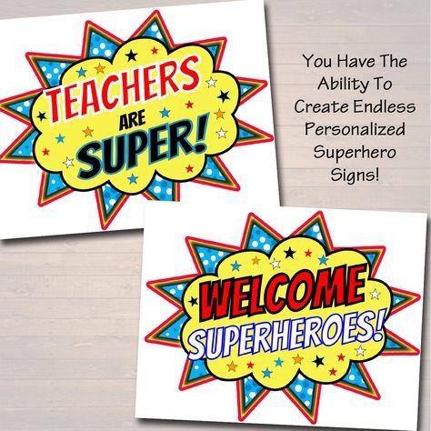 Teacher Appreciation Superhero Themed Decor,  Files, Super Hero Star Themed Week School Events,  Printables