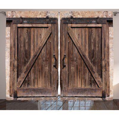 East Urban Home Room Darkening Rod Pocket Curtain Panels Wooden Barn Doors Wooden Barn Rustic Tapestries