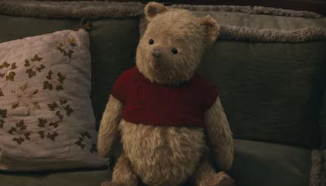Winnie the Pooh and his plush friends from the Hundred Acre Wood will always be waiting for a hug. The Winnie the Pooh Plush that can be seen in the movie Christopher Robin (2018). #WinniethePooh #ChristopherRobin