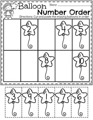 Preschool Math Worksheets Balloon Number Order Numbers Preschool Preschool Math Preschool Math Worksheets