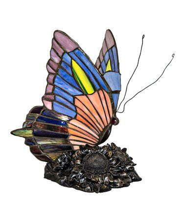 Love this Orange & Blue Stained Glass Butterfly Table Lamp