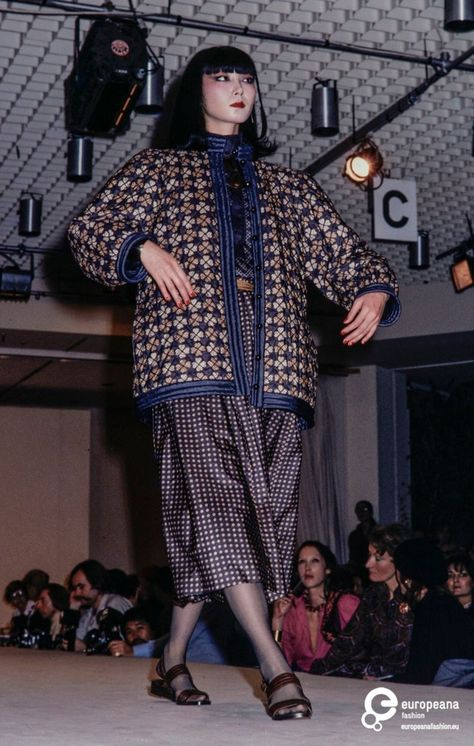 Saint Laurent Rive Gauche S/S 1978 Collection. Paris, October show at the Palais des Congres. Model is Sayoko Yamaguchi.