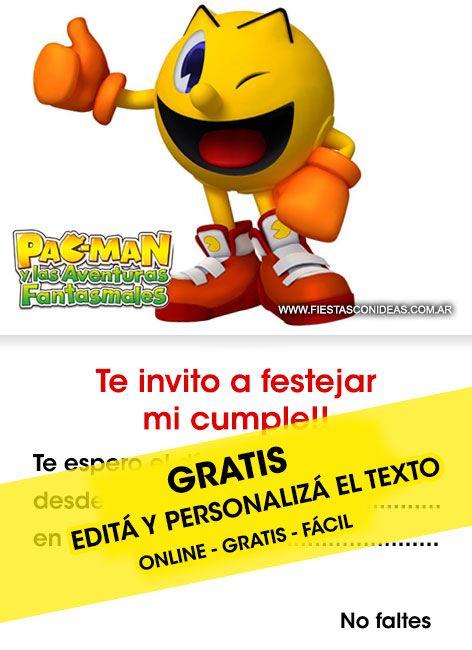 Tarjeta De Cumpleaños De Pacman Para Imprimir Editá El