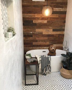 this farmhouse inspired bathroom is awesome! reclaimed