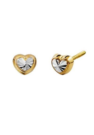Diamante Corte Cruz Aretes en oro Amarillo de 9 CT