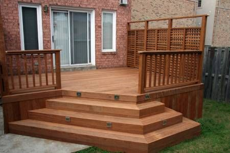 Great Small Deck With Wide Stairs To Yard   Needs To Be Stained, And The  Pergola Needs To Be Larger To Make It More Pleasing To Look At.