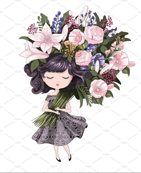 Cute girl with flowers #customizable#illustrator#file#fully