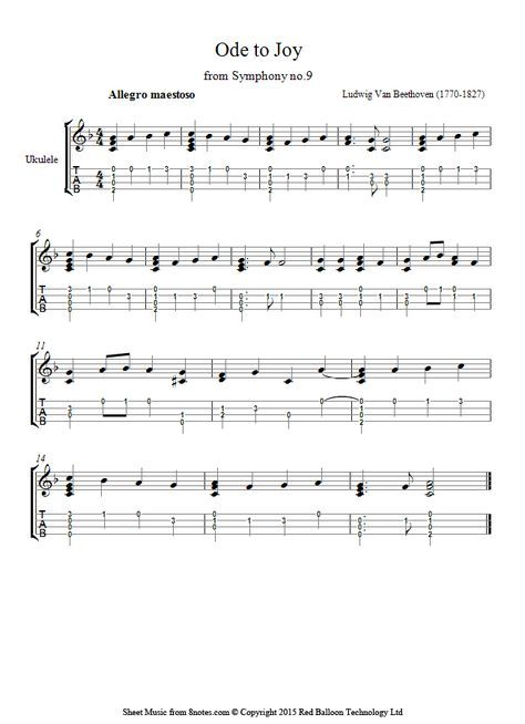 Beethoven Theme From Ode To Joy Sheet Music For Ukulele With