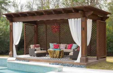 Pergola Lounge au design moderne réalisée en cèdre rouge sélect de l - amenagement exterieur pas cher