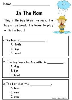 Kindergarten Guided Reading Comprehension Passages and ...