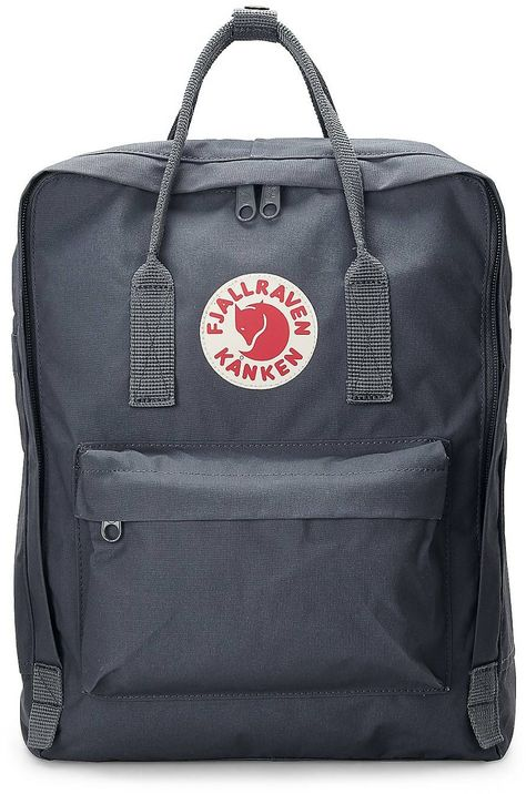 Rucksack KÄNKEN The classic Kånken backpack in medium gray by Fjällräven with zipper to open the ent