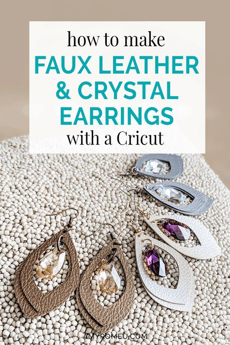How To Make Faux Leather & Crystal Earrings with your Cricut. - How To Make Faux Leather & Crystal Earrings with your Cricut – Amy Romeu - Diy Leather Earrings, Diy Earrings, Crystal Earrings, Gold Earrings, Gold Bracelets, Leather Jewelry Making, Diy Leather Bracelet, Crochet Earrings, Jewelry Crafts