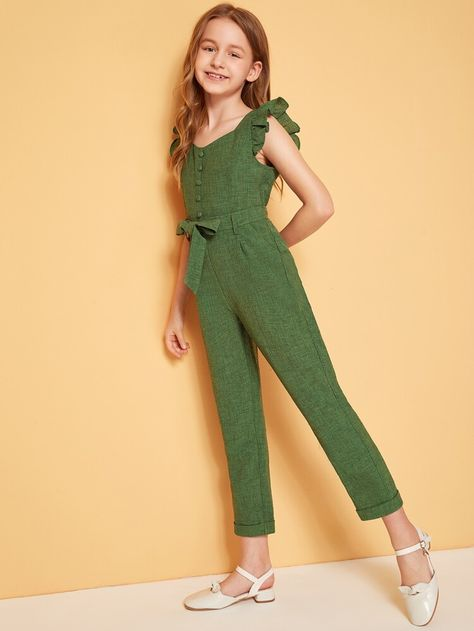 To find out about the Girls Ruffle Trim Button Front Belted Jumpsuit at SHEIN, part of our latest Girls Jumpsuits ready to shop online today!