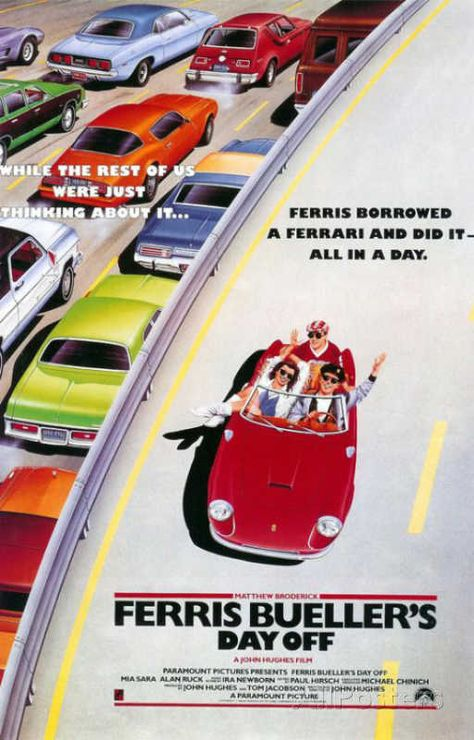 classic movie poster FERRIS BUELLER'S DAY OFF cars freeway FAVE Brand New. Will ship in a tube. - Multiple item purchases are combined the next day and get a discount for dome