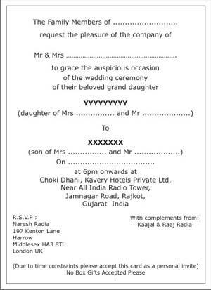 Hindu Wedding Invitation Wordings Hindu Wedding Wordings