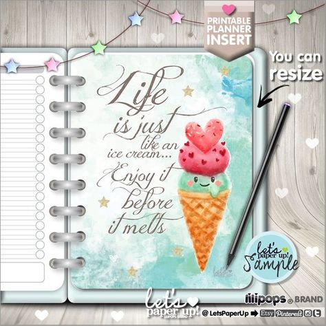 Planner Insert, Printable Planner Insert, Planner Divider. ❤ You can resize this file ❤ One gorgeous kawaii printable page to insert and have a planner well organized ❤ For yourany day planner or anywhere else ❤ This planner page is a great idea to add a touch of happiness in your planner or use