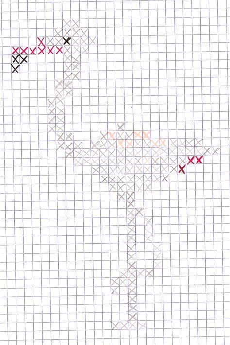 diagramme flamant rose au point de croix