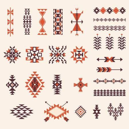 Illustration of Native american navajo aztec pattern vector elemets design set vector art, clipart and stock vectors. Image 41926017.