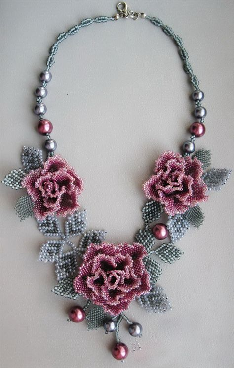 Beaded flower necklace purple rose whith grey by Elinawonderland