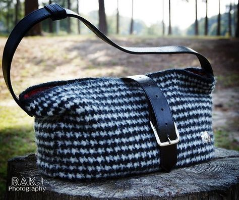 Bryant Houndstooth Felted Crochet Bag Crochet Bags And Purses