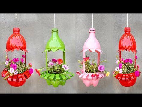 Plastic Bottle Planter, Plastic Bottle Flowers, Plastic Bottle Crafts, Diy Bottle, Plastic Recycling, Reuse Plastic Bottles, Bottle Garden, Diy Flowers, Flower Pots