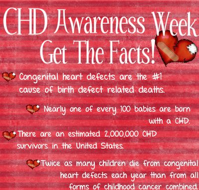 Congenital Heart Defect Awareness Week! FACT:Approximately 1 of every 100 babies are born with a CHD.