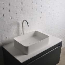 Thin Sq Rectangular Vessel Sink Modern Bathroom Decor Wash