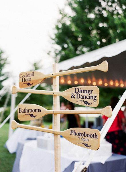 Paddle wedding sign! Love this idea for a nautical wedding.