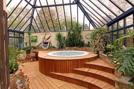 Indoor Garden Sunroom With A Hot Tub Of Course Yes Please Indoor Hot Tub Hot Tub Room Indoor Jacuzzi