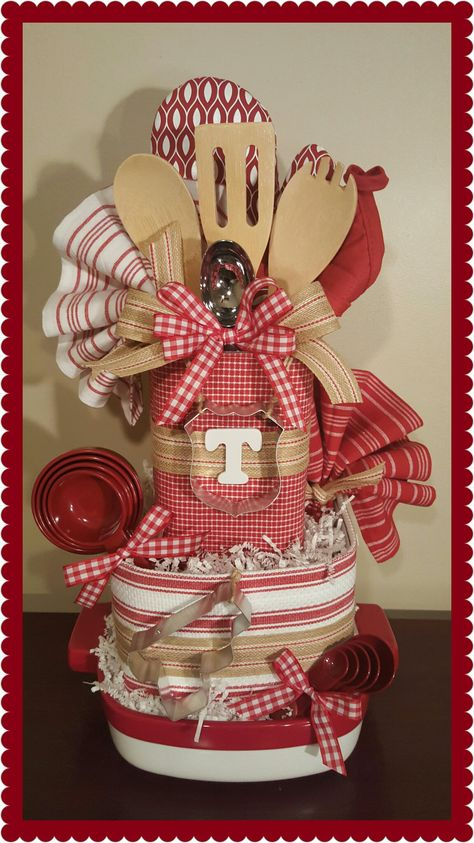 Pin by erin wilhelm on gifts kitchen towel cakes, themed gift baskets, kitc Kitchen Gift Baskets, Kitchen Towel Cakes, Diy Gift Baskets, Raffle Baskets, Christmas Gift Baskets, Diy Christmas Gifts, Kitchen Towels, Kitchen Utensils, Towel Cakes Diy