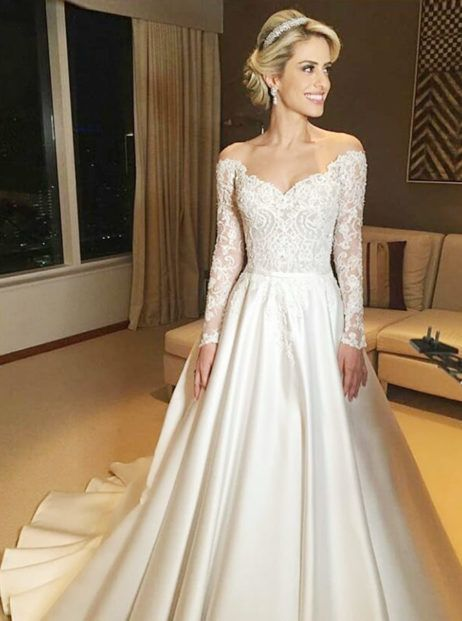 Splicing Lace Applique Off Shoulder Bodycon Dress Women Clothing Long Sleeve Satin Wedding Dress Wedding Dresses Lace Wedding Dress Sleeves