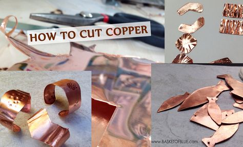Cutting your own copper shapes can be easier than you think. For higher gauges (meaning thinner copper) you can easily do it with standard hardware store metal snips. They look like big scissors an… Copper Work, Copper Metal, Metal Projects, Metal Crafts, Fun Projects, Metal Clay Jewelry, Copper Jewelry, How To Cut Metal, Copper Basket