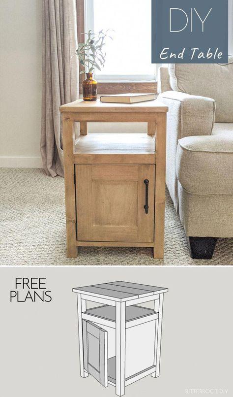 Diy Furniture Plans Wood Projects, Diy Furniture Decor, Woodworking Furniture Plans, Woodworking Projects Diy, Furniture Design, Furniture Storage, Diy Furniture Table, Woodworking End Table, Free Woodworking Plans