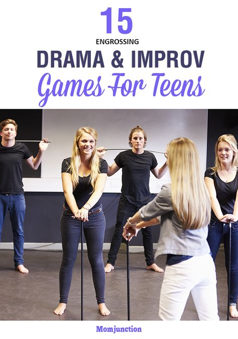 15 Engrossing Improv And Drama Games For Teens Here is an exhaustive list of improv and drama games for teens that will help to improve concentration, facial expression and modulation of voice. Read on! Drama Activities, Activities For Teens, Games For Teens, Drama Games For Kids, Improv Games For Kids, Teen Games, Group Activities, Therapy Activities, Theatre Games
