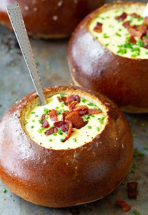 Best Cheese Soup Recipe #ASpicyPerspective #soup #cheese #beer #breadbowls #irish