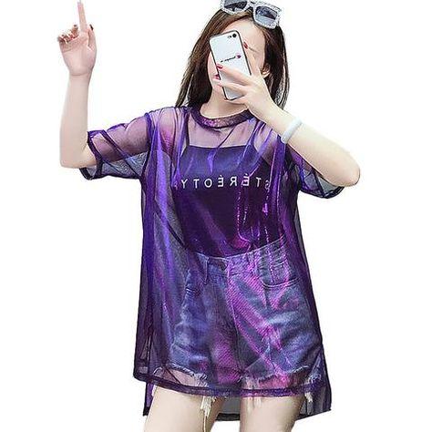 359edbd3f34 2018 Harajuku Transparent T shirt Women Summer Letter Print T-shirt Punk  plus size Shining Mesh Tops Short Sleeve tshirt women
