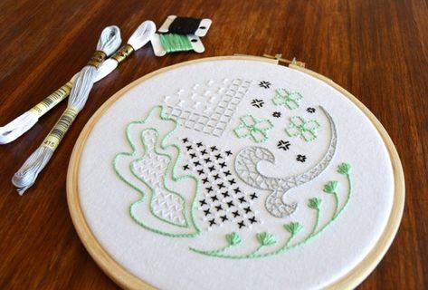 Mock Blackwork hand embroidery pattern, a modern embroidery pattern PDF