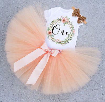 1st Birthday Girls Baby Princess Dress Romper Tutu-Skirt Headband Outfit Sets