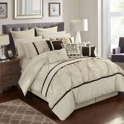 Chic Home Palmetto 16-Piece King Comforter Set In Beige