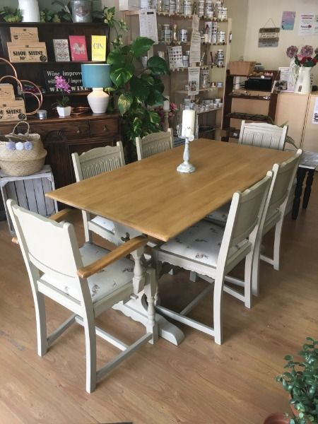 Old Charm Dining Table Chairs Painted In Frenchic Upholstery Country Hare Fabric In 2020 Dining Table Dining Table Chairs Oak Dining Table