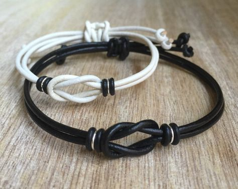 Sanibel Set, Couples Bracelet, His and her Bracelet, White and Black Matching Bracelets, Set of 2 LC001350
