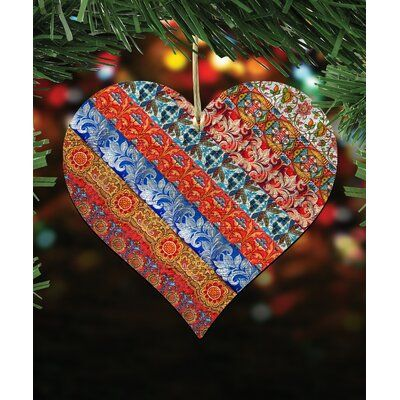 The Holiday Aisle Quilted Heart Holiday Shaped Wood Ornament Wood Ornaments Heart Ornament Holiday Shapes