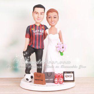 No Soccer Football Futbol Bride Groom FIFA Goal Wedding Cake Topper World Cup