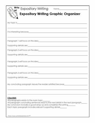 Expository Writing Graphic Organizer Worksheet Essay Guide