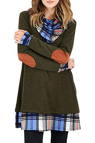 STYLEWORD Womens Cowl Neck Sweater Tops Long Sleeve Elbow Patchs Patchwork Casual Tunic Shirts