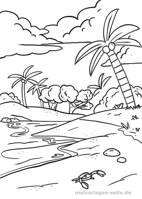 Malvorlage Strand mit Palme Malvorlagen Palme malen und