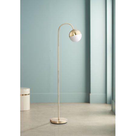 360 Lighting Mid Century Modern Floor Lamp Led Antique Brass White Glass Globe Shade Step Switch Fo Globe Floor Lamp Floor Lamp Bedroom Floor Lamps Living Room